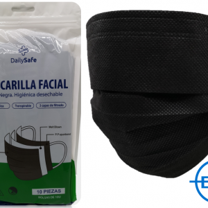 PACK DE 10 MASCARILLAS DESECHABLES NEGRAS