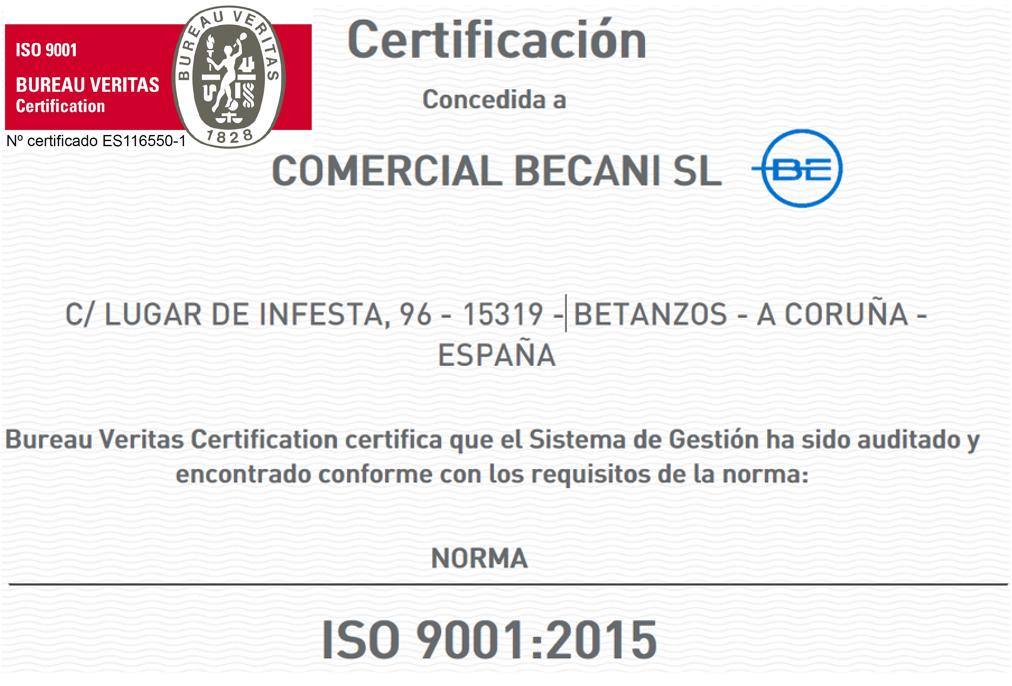 BUREAU VERITAS CERTIFICATION: ISO 9001